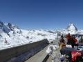 Bergrestaurant mit Blick auf Matterhorn, Monte Rosa & Co.