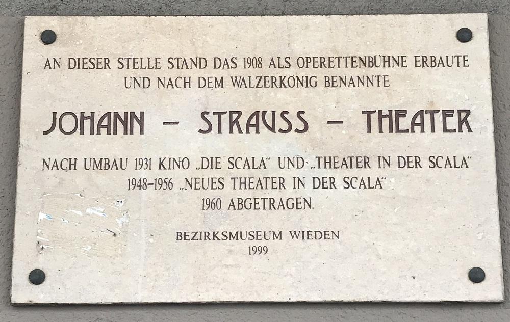 Gedenktafel Johann-Strauß-Theater