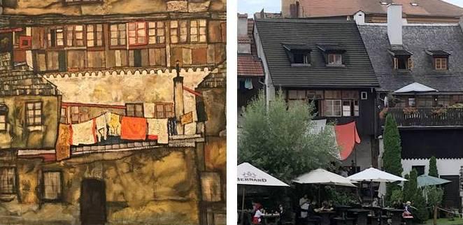 """""""Häuser am Fluss"""" gesehen von Egon Schiele (Leopold Museum Wien) und heute"""